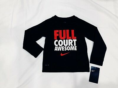 NWT Boy Toddler 2T  Nike Dri-Fit L/S Poly T Shirt Full Court Awesome Blk/Rd R$28