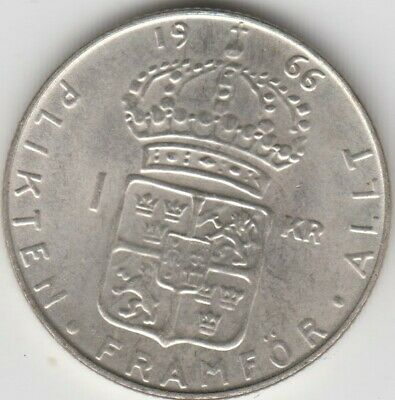 Coin 1966 Sweden silver 1 Krona in uncirculated condition