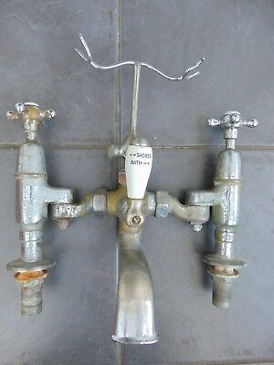 Reclaimed Vintage Chrome Plated Brass Bath & Shower Mixer Tap Ceramic Inserts