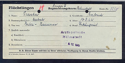 Germany, 1945, Refugee registration card for one german woman with cancel from