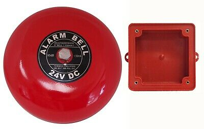 """Fire Alarm Bell 6"""", 24 vdc, with Waterproof Backing Enclosure, Security Bell"""