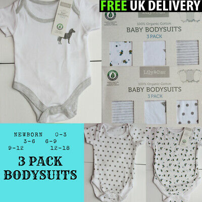 Baby Boys Organic Cotton Bodysuits Vest Babygrows (3 Pack ) 0-3 Months New Boxed