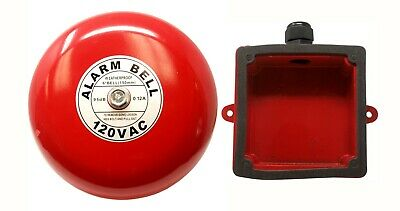 "Fire Alarm Bell, 6"", 120 VAC, with Waterproof Backing Enclosure, Security Bell"