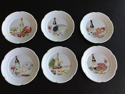 LOURIOUX Canape Appetizer plates Wine & Cheese ~ Set of 6 ~ France Limoges