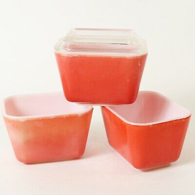 Vtg Pyrex Primary Red 501-B Refrigerator Dish Lot of 3 w/ 1 Lid