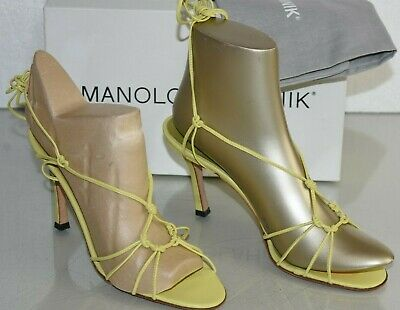 11cdc1c0d NEW Manolo Blahnik CLARISSA Strappy Sandals Leather Yellow Lime Green Heels  37.5
