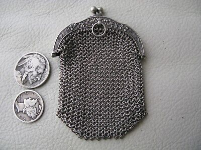 Antique Victorian Art Nouveau Chatelaine French STERLING SILVER Coin Purse 1890s