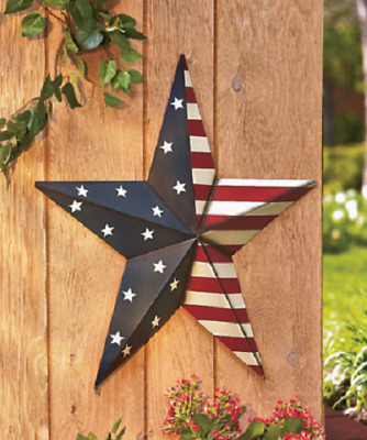 Outdoor Wall Décor Art Metal American Barn Star Patio Red White Blue Large 24 In