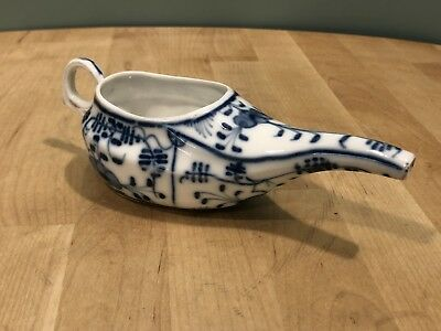 Antique Invalid Feeder Cup: Blue Floral Design