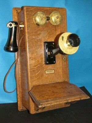 Antique Tiger Oak Wood Wall Hand Crank Western Electric Vintage Phone Telephone