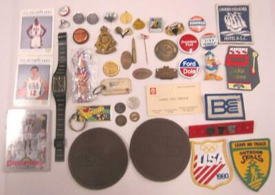 Grandpa's Vintage Junk Drawer Lot Coins Cards Patches Key Chains Military Pins