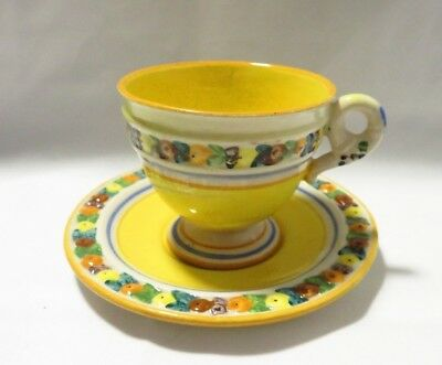 Vintage Italy Demitasse Majolica Cup And Saucer