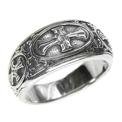 Gerochristo 2621 ~ Sterling Silver -  Medieval-Byzantine Band Cross Ring