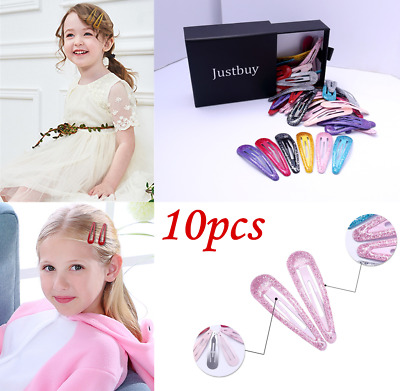 10Pcs Glitter 7cm Snap Hair Clips Pins BB Hairpins Color Metal Barrette Hairgrip