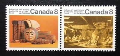 Canada #570i-571ai HF MNH, Pacific Coast Indians Pair of Stamps 1974