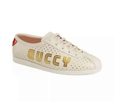 6b92db4e4 NEW GUCCI FALACER Guccy Stars Leather Logo Sneakers R-39/9 L-38.5 ...