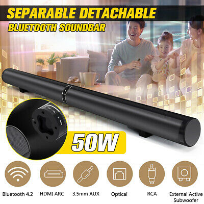 US 50W Detachable bluetooth Speaker Wireless Soundbar Stereo For TV Home Theater