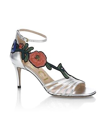 110878788f5 New In Box Gucci Ophelia Floral-Embroidered Metallic Leather Sandals  36EU 6US