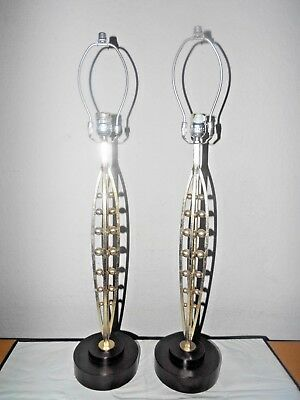 "Lamps A Pair Of 30""H 2-Way Hotel Style Fancy Wrought Iron Balled Themed Lamps"