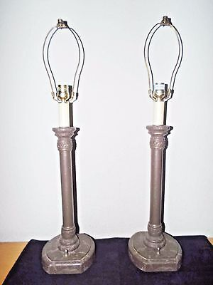 Lamps A Pair Of Hotel Style 30'h Faux Marble Resin Roman Column Table Lamps