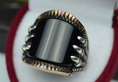 Mens Black Yemeni Aqeeq Vintage Ring Black Akik Sterling Silver 925 Onyx Ring
