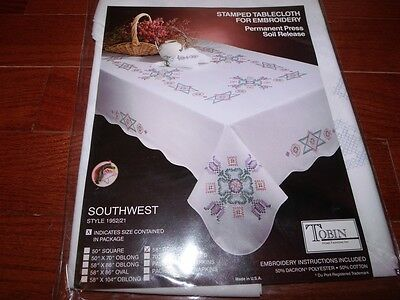 "Tobin Stamped Tablecloth SOUTHWEST 58"" x 104""   Cross Stitch"