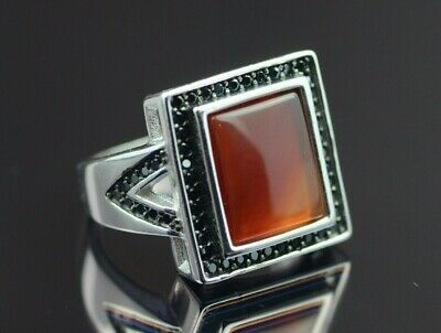 Mens Orange Yemeni Aqeeq Vintage Ring Agate Ring Sterling Silver 925 Onyx Ring