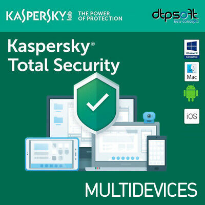 Kaspersky Total Security 2020 5 Dispositivos 1 año 5 PC MAC ANDROID 2019 EU ES