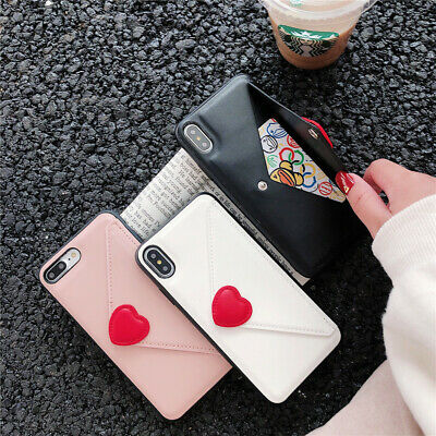 Case For iPhone XS Max XR X 8 7 6 Plus Leather Card Holder Envelope Wallet Cover
