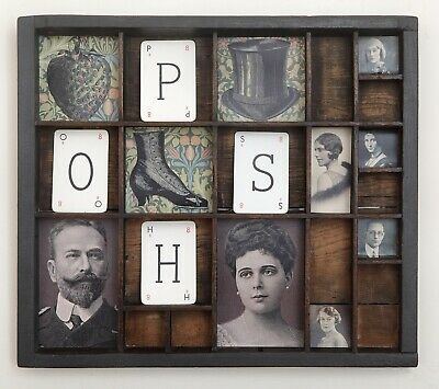 Quirky Artwork in Vintage Letterpress Printers Tray Drawer POSH SHOP