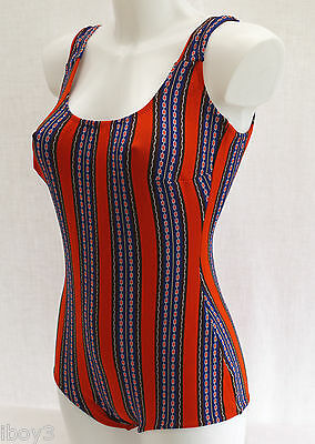 ORIGINAL 60's VINTAGE FITTED STYLE LADIES SWIMMING COSTUME SWIMSUIT 12 - 14 NEW