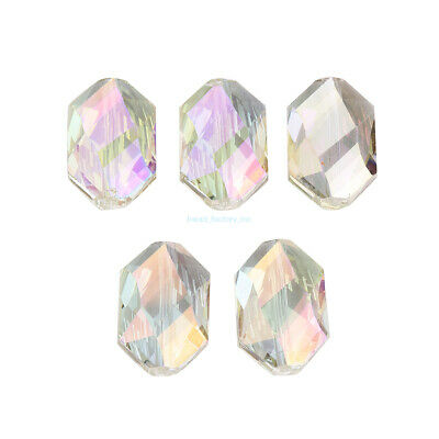 Crystal 18mm 5PCS  Oval Hexagon Glass Spacer Loose Beads DIY Jewelry Accessories