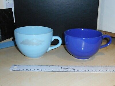 Set Of Large Blue Tea Coffee Latte Cappuccino Cups