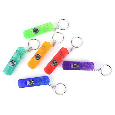 Potable 3-In-1 Keychain Flashlight Compass Whistle Camping Survival Hiking Tool