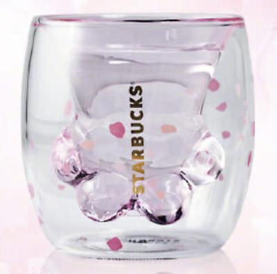 China 2019 Sakura 6oz Pink Starbucks Cat Cat's Paw Double Wall Glass Mug Cup HOT
