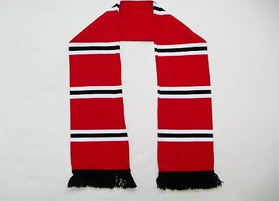 Jacquard Knitted,Fan,Football,Supporter, Red Black White Bar Scarf- Man United