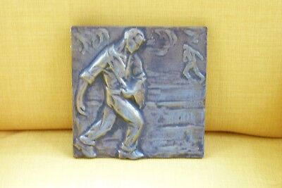 C.1900 Heavy Bronze French Plaque – Farmer Sowing Seeds - Original
