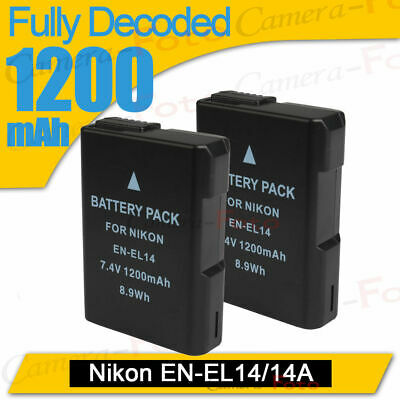 2pcs Battery EN-EL14 ENEL14 for NIKON D3100 D3200 D5100 P7000 P7100 DSLR UK