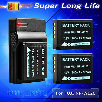 2×1280mAh Battery + USB Charger for Fuji HS30 NP-W126 HS33 FinePix EXR X-Pro1 UK