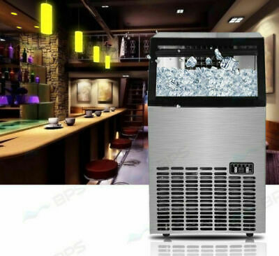 60Kg/Day Commercial Ice Cube Maker Machine Counter Bar Stainless Steel NEW