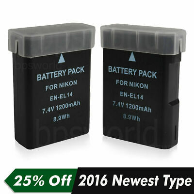 2x Battery For Nikon EN-EL14 ENEL14 D5200 D5100 D5300 P7000 P7100 DSLR Camera UK
