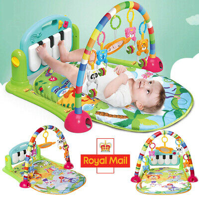 4in1 Unisex Fitness Baby Gym Play Mat Lay Play Music And Lights Fun Piano Puzzle
