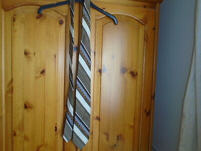 Mens brown and cream stripe classic tie, HARDY AMIES (HEPWORTHS), Vintage 1970s