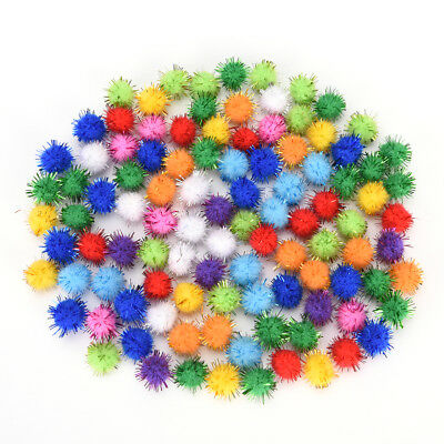 100X glitter tinsel pompom balls small pompoms ball cat puppy toys pet suppl Lc