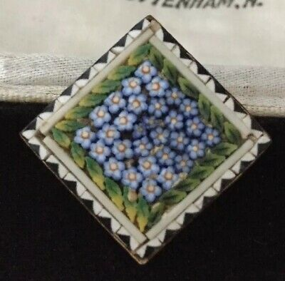 vintage Art Deco lovely Italian micromosaic forget me not flowers brooch