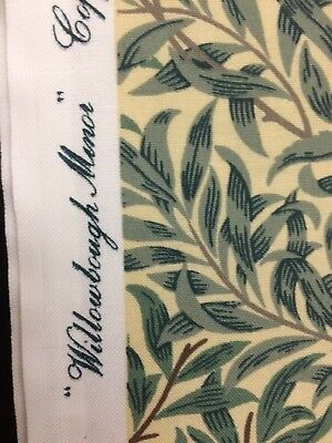 1.35 Mtrs WILLIAM MORRIS CURTAIN FABRIC Willow Bough Minor TAUPE/GREEN Sanderson