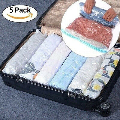 5Pcs Roll Up Compression Vacuum Clothing Storage Space Saving Bag Luggage Travel