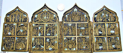 Antique Russian Old Believers 4 Panel Icon Bronze Enamel New Testament 19Th C