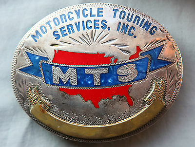 Vtg Johnson Held  Sterling Silver  Motorcycle MTS Hand Made Western Belt Buckle