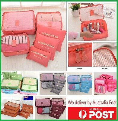 6pcs Packing Cubes Travel Luggage Organizer Clothes Suitcase Storage Bags Pouch